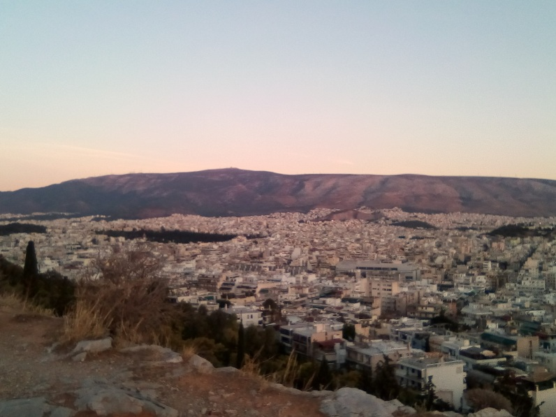 Overlook of Downtown Athens at Twilight