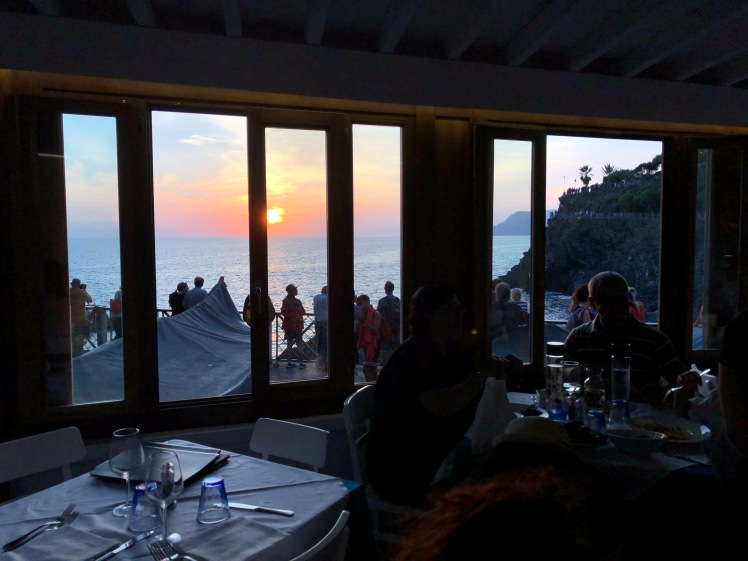 Beautiful ocean sunset from the restaurant.