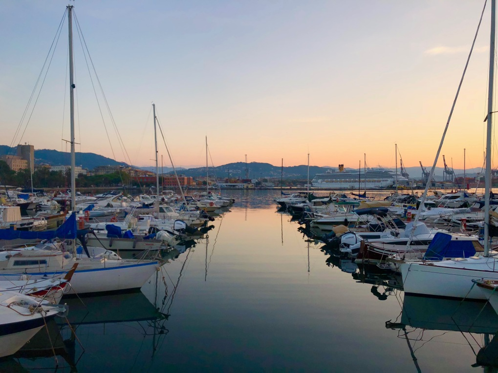 Sunrise starting in the port of La Spezia.