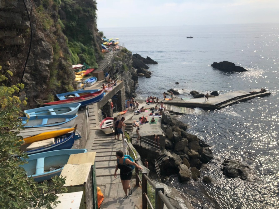 Part of the rocky beach in Corniglia.