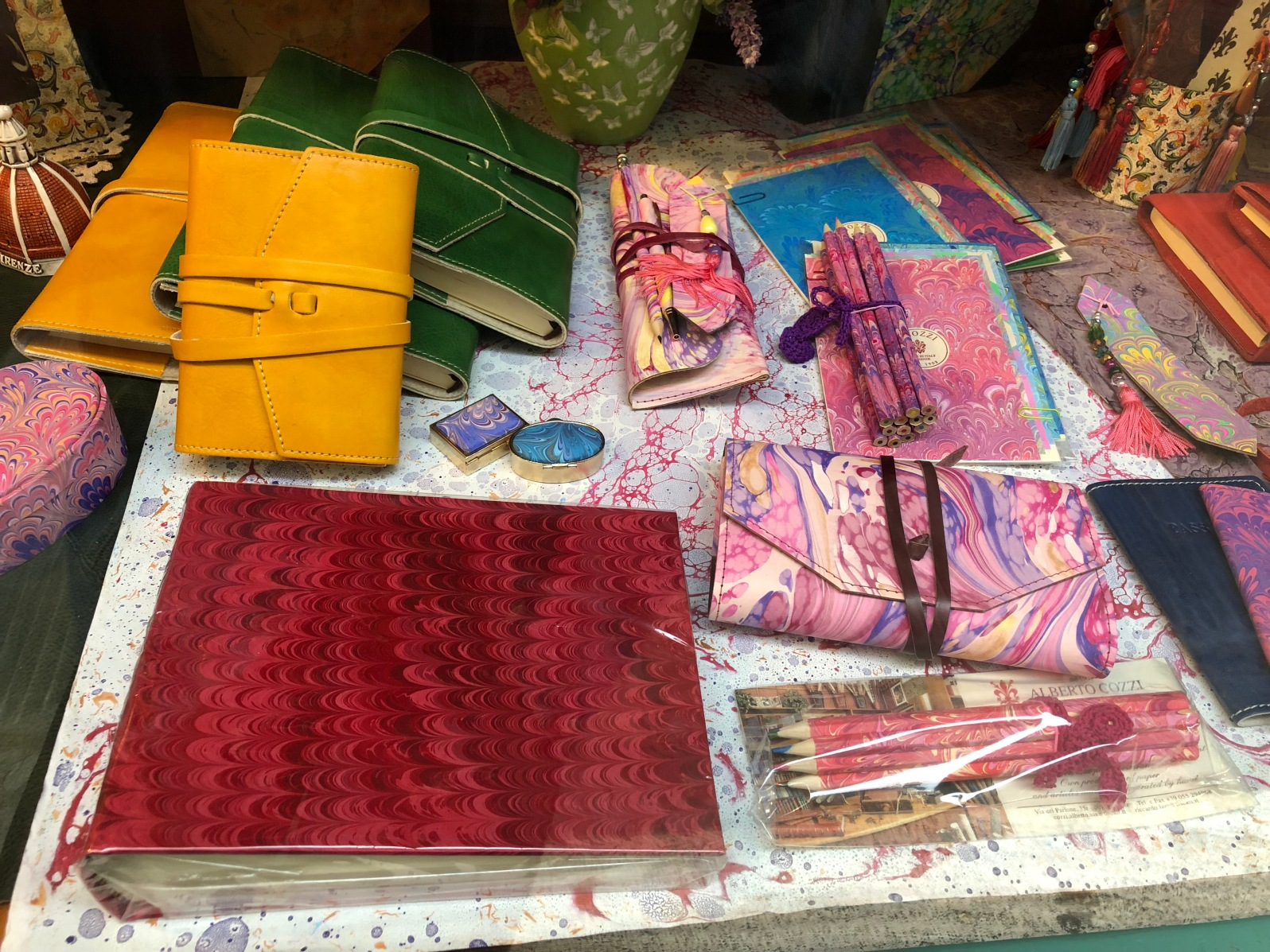 Example of some marbled and bound goods