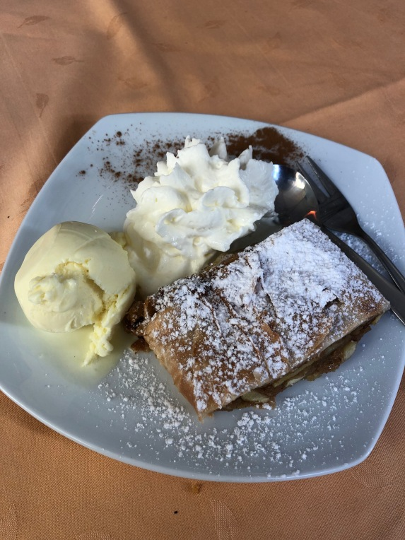 Apple strudel with vanilla ice cream.