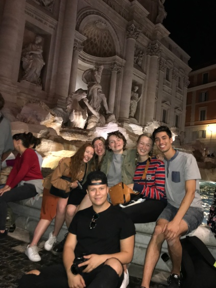 Friends at the Trevi Fountain