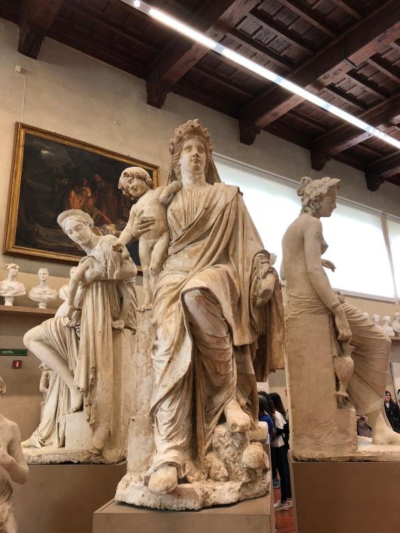 Statues inside the Galleria del'Accademia