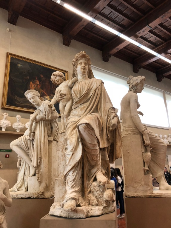 Statues inside the Galleria del'Accademia