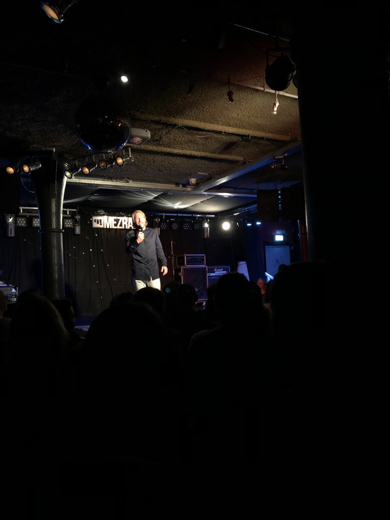 The host of the comedy show at Mezrab