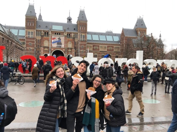 Outside the Rijksmuseum with stroopwafels