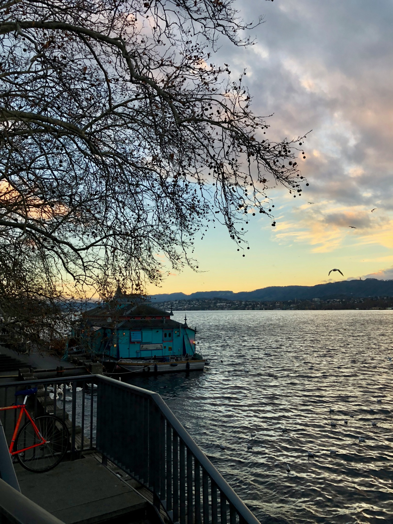 Zurich Lake with the sun setting
